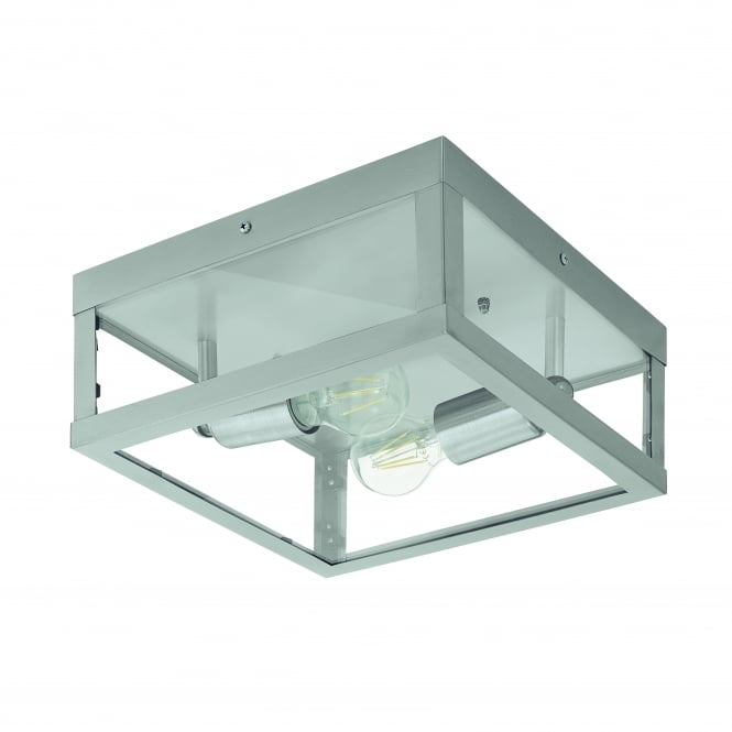Eglo Alamonte 2 Light IP44 Ceiling Light Stainless Steel