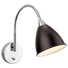 Bari Black with Chrome Wall Light with Push Switch