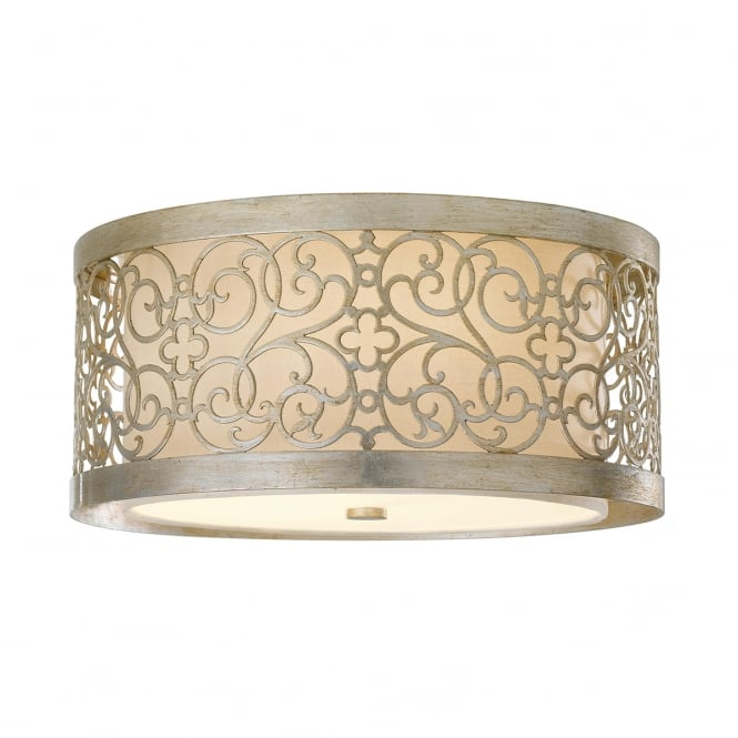 Feiss Shabby Chic Patterned Silver Leaf Flush Drum Light