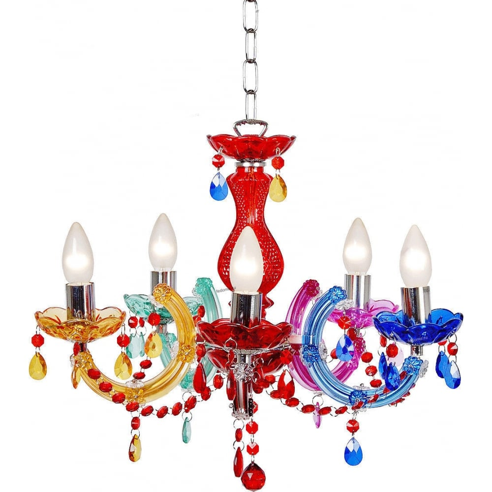 Lucide 783510599 arabesque chandelier 5xe1440w multicolor arabesque multi coloured pride chandelier mozeypictures Images