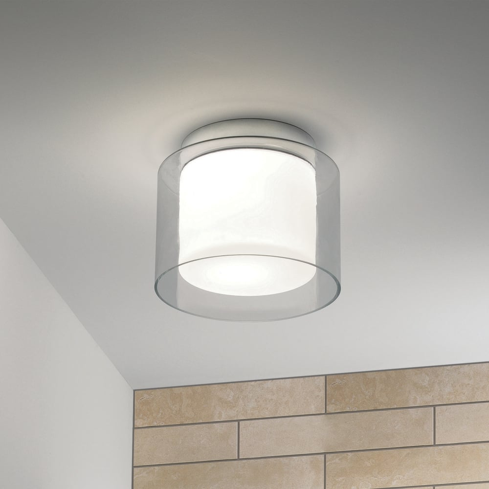 Astro Arezzo Clear and Frosted Glass Ceiling Drum Light