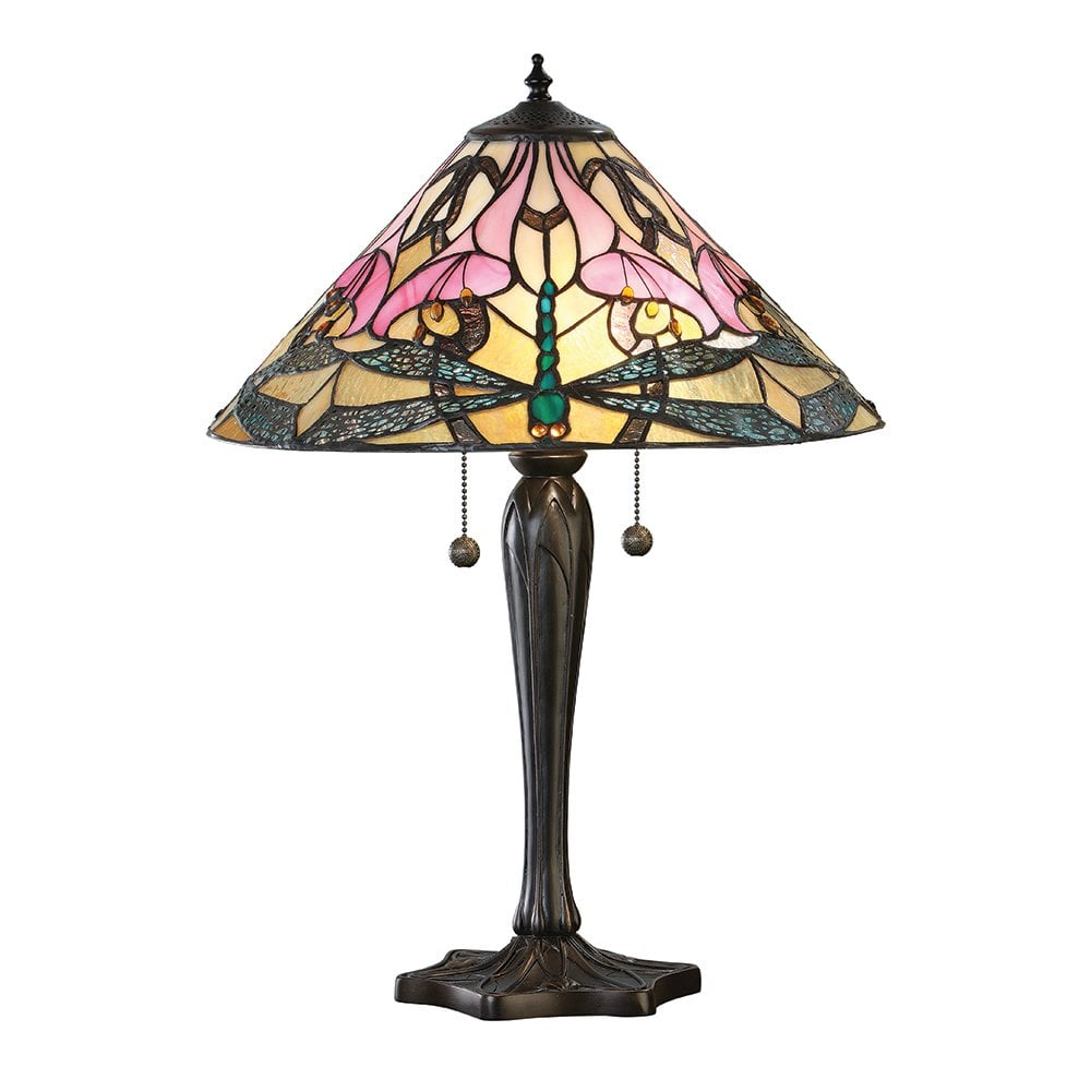 Ashton Pink Lilly Dragonfly Tiffany Large Table Lamp