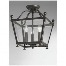 Atrio Antique Bronze 3 Light Flush Lantern