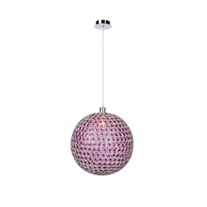 Lucide AYLA Purple Globe Ceiling Pendant 40cm With Chrome Finish