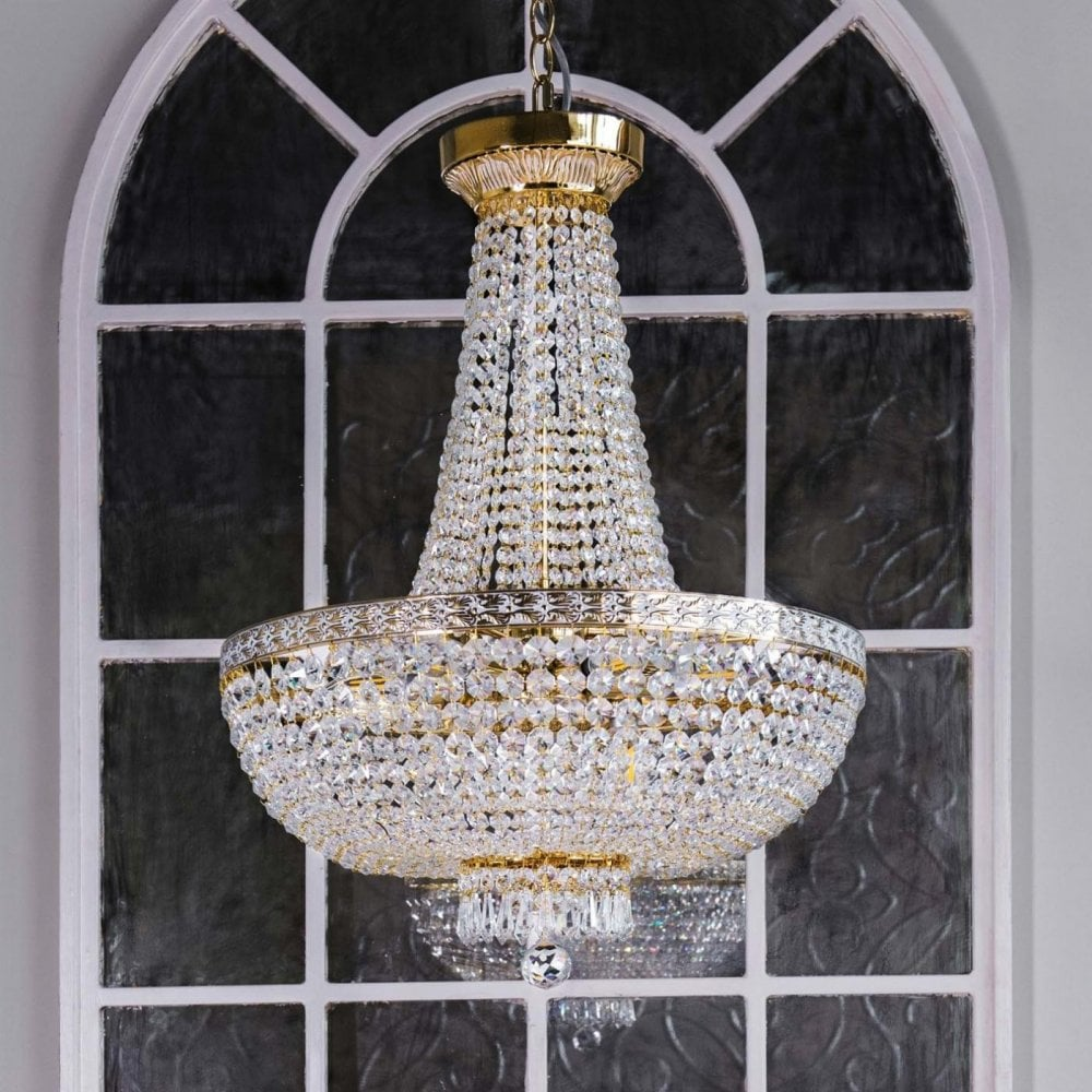 Maytoni Lighting Bella Diamant Crystal Chandelier White Gold