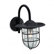 Black Fisherman Wall Lantern with Cage
