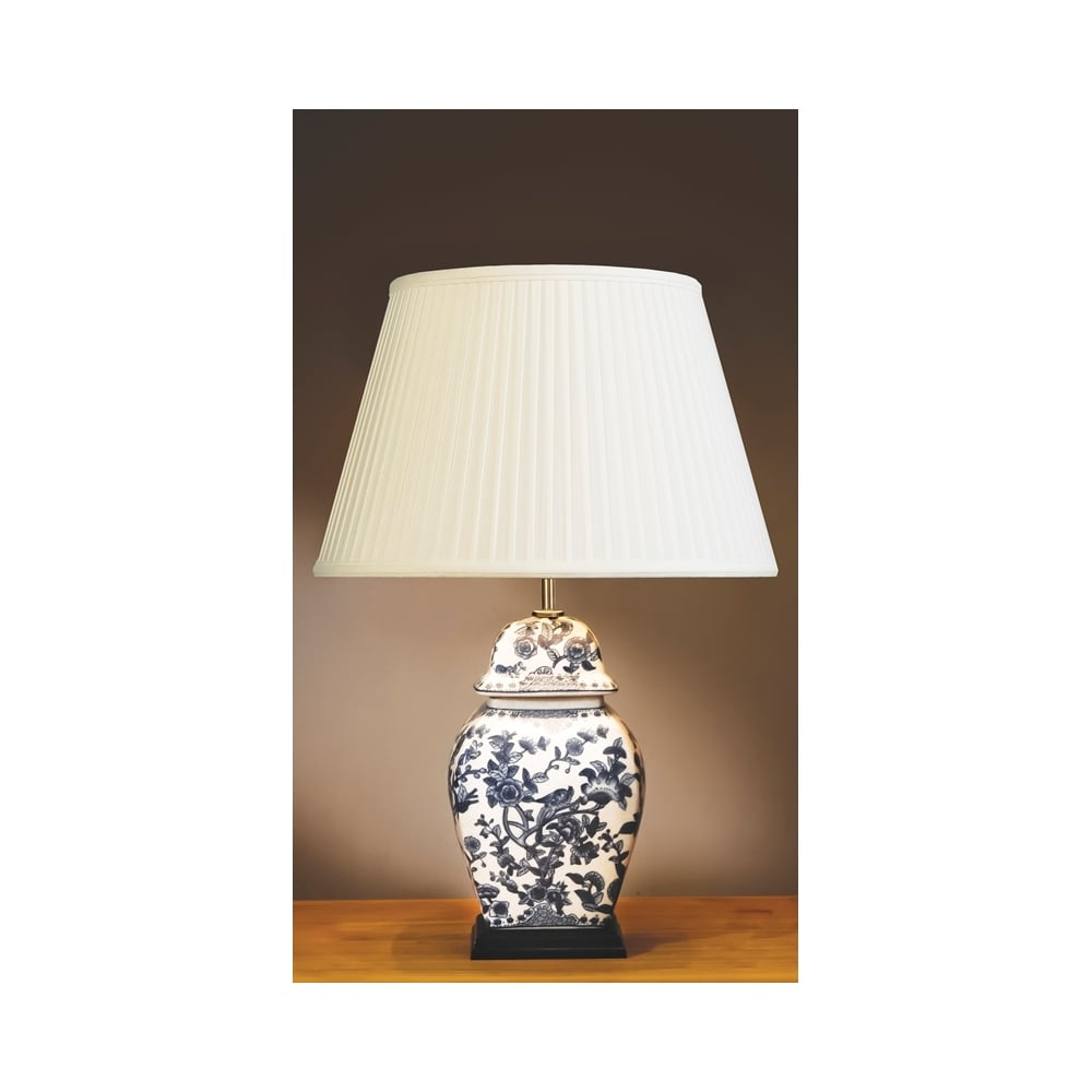 Blue And White Floral Temple Oriental Table Lamp