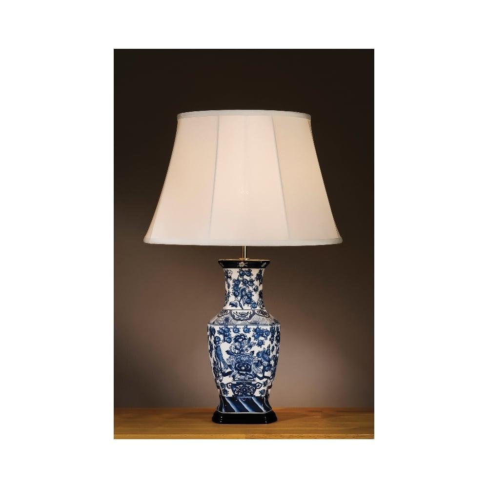Blue Amp White Oriental Hexagon Vase Table Lamp