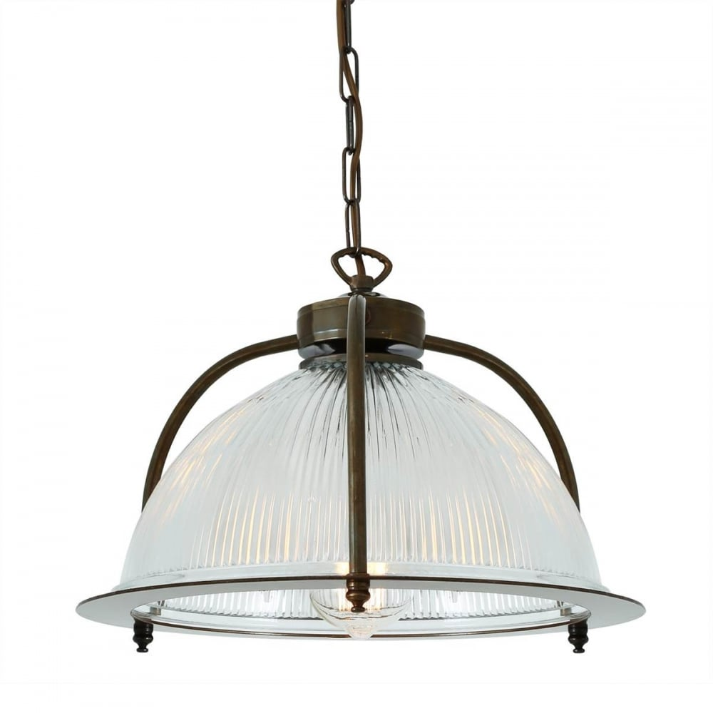 Bousta Pendant With Ribbed Glass Dome Shade Gl025