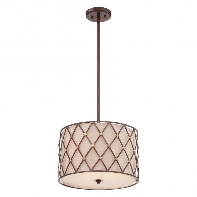 Quoizel Brown Lattice Drum Ceiling Pendant