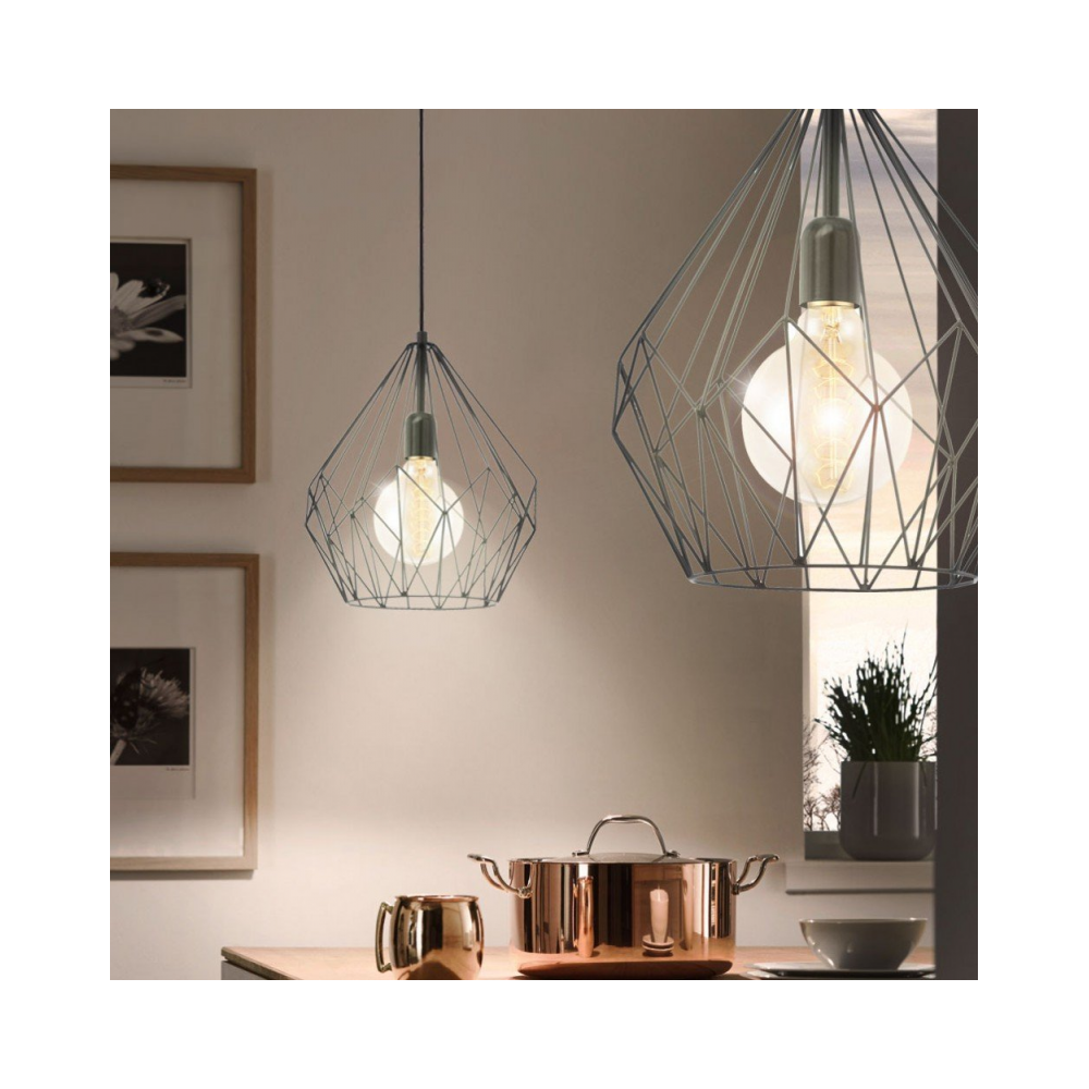 Black Wire Geometric Pendant Light