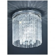 Chrome and Crystal 250mm Flush IP44 Ceiling Light