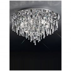 Chrome and Crystal Flushmount Ceiling Light