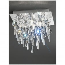 Chrome and Crystal Square Flush Ceiling Light