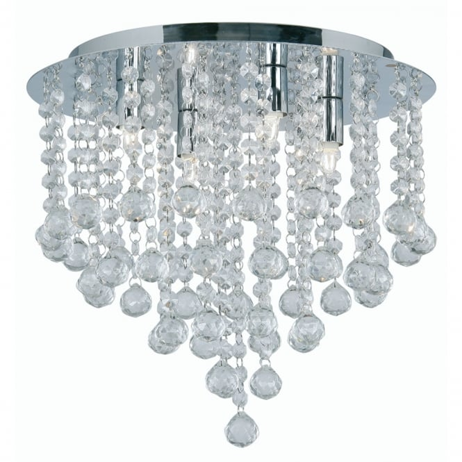 Oaks Chrome with Crystal Balls Semi Flush Ceiling Fitting