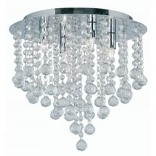 Chrome with Crystal Balls Semi Flush Ceiling Fitting