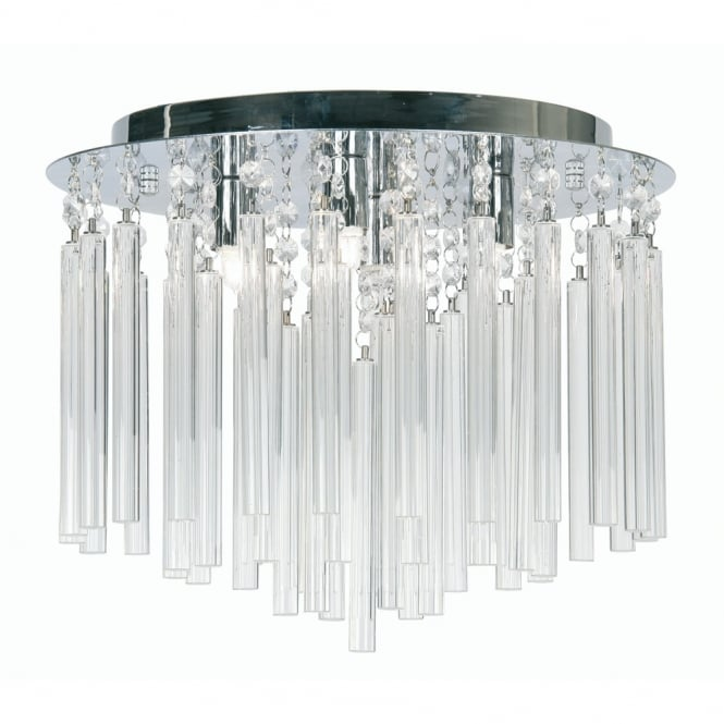 Oaks Chrome with Crystal Rods Semi Flush Ceiling Fitting