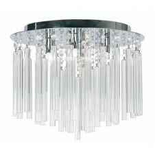 Chrome with Crystal Rods Semi Flush Ceiling Fitting