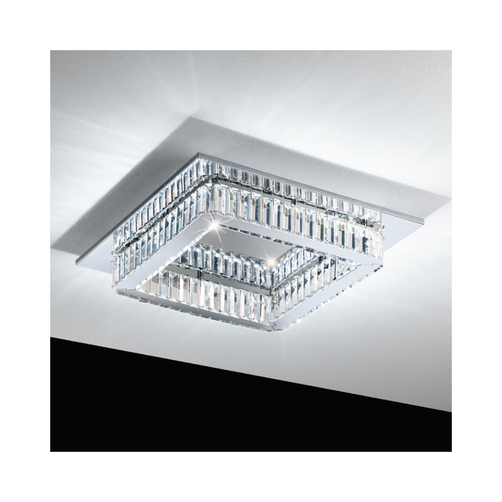 Corliano Crystal Square Semi Flush Ceiling Light