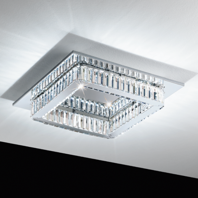Eglo Sku25415 Corliano Crystal Square Semi Flush Ceiling Light Ideas4lighting