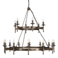 Cromwell Ceiling Light Candle Ring Double