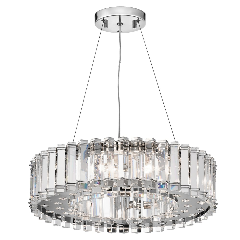 Crystal skye modern chrome 8 light round crystal chandelier