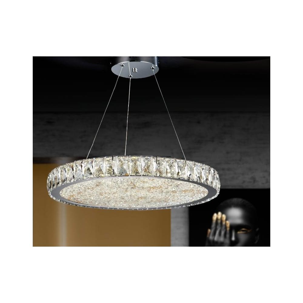 Dana Luxury Circular Crystal Ceiling Pendant 49cm