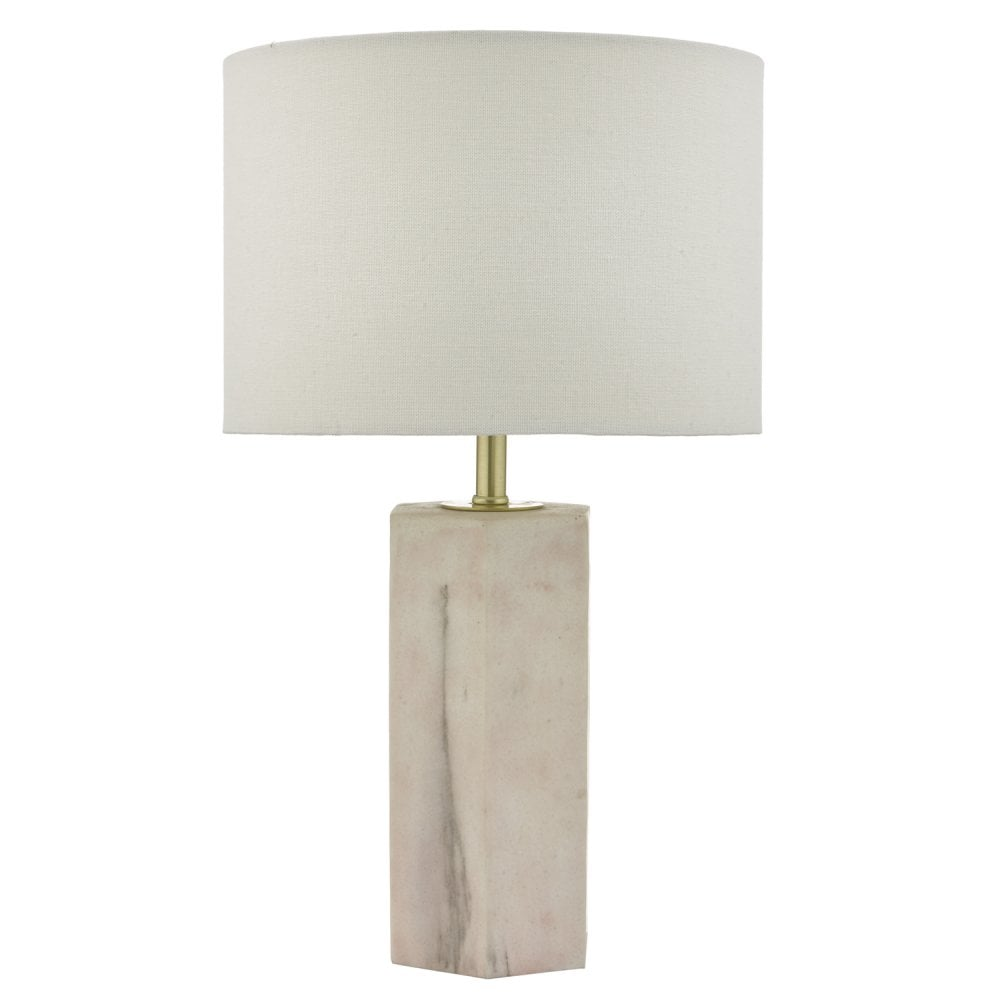 Dar Nalani Table Lamp Pink & Marble Effect With Shade