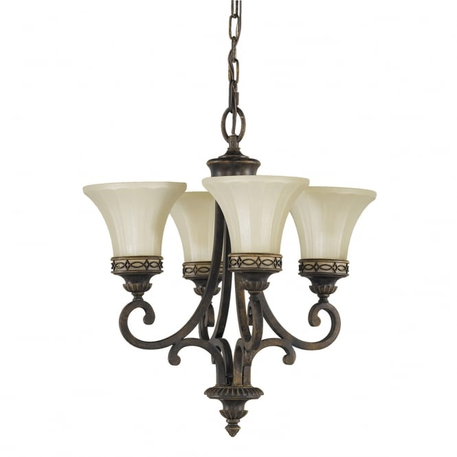 Feiss Georgian Bronze 4 Light Ceiling Chandelier with Amber Scavo Glass Shades