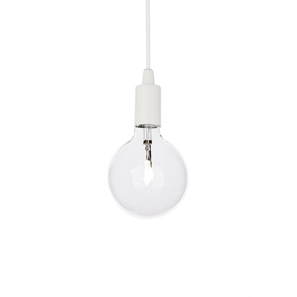 Ideal Lux Edison Retro White Open Bulb Hanging Ceiling Pendant Light