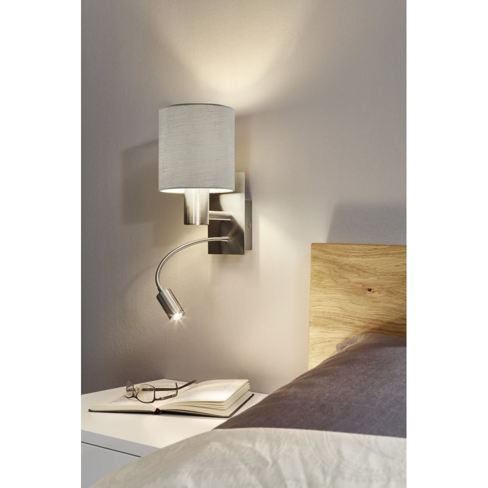 pasteri 2 light led switched wall light taupe