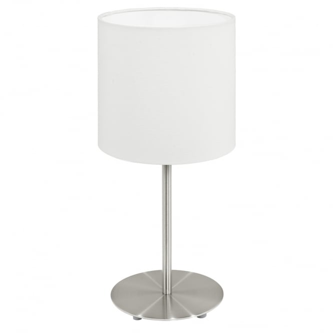 Eglo Pasteri Chrome Bedside Lamp White Shade