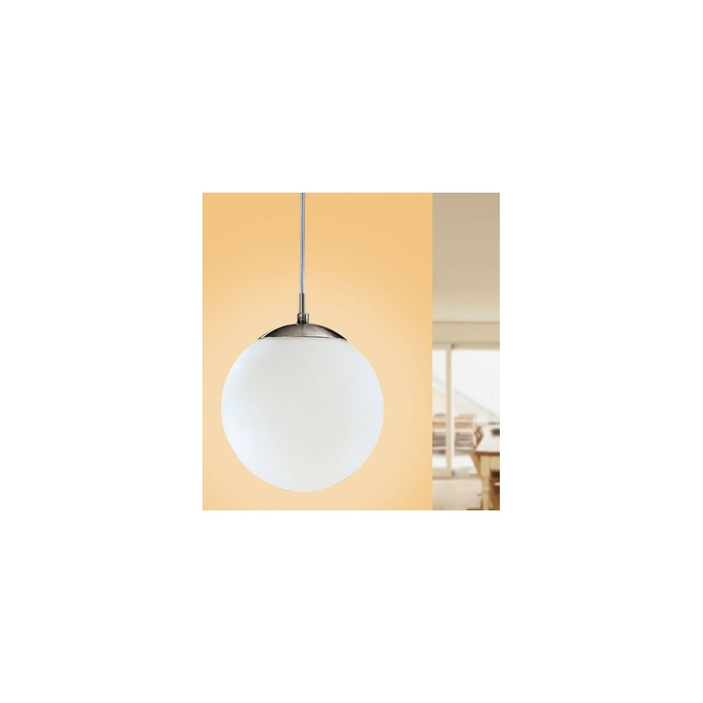 Eglo Rondo Pendant Ceiling Light Single Modern Matt White Globe 85263 Ideas4lighting