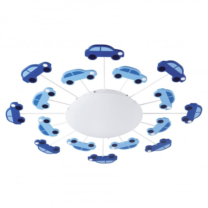 Eglo Viki Blue Boys Room Light Cars