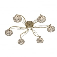 Esmee 6 Light Ant Brass Semi Flush Fitting