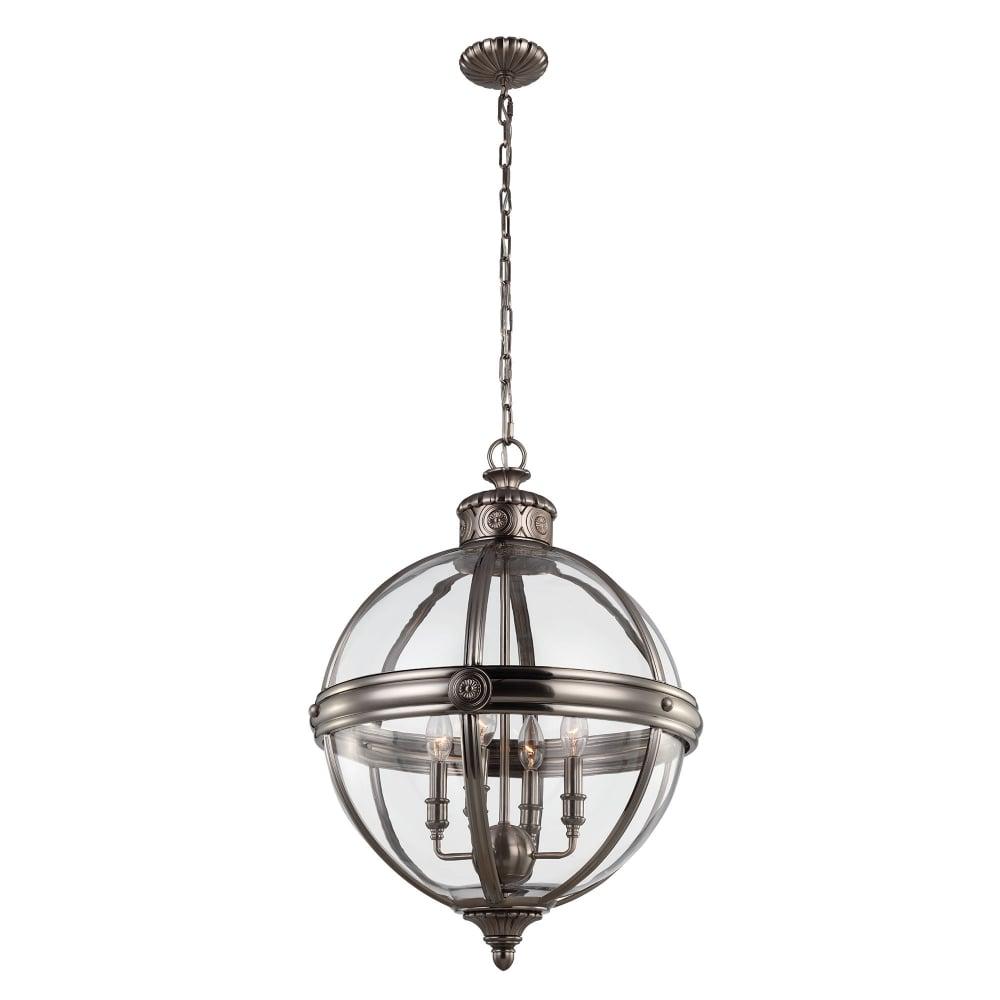 Nickel Pendant Globe Light Chandelier