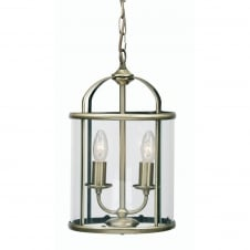 Fern Antique Brass 2 Light Lantern