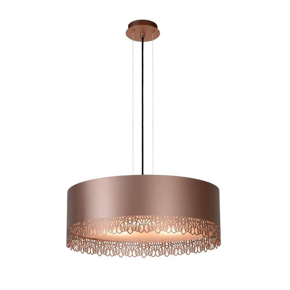 Lucide 304775019 ferova pendant 3xe27 50cm rosegold ferova rose gold ceiling light pendant 50cm aloadofball Images