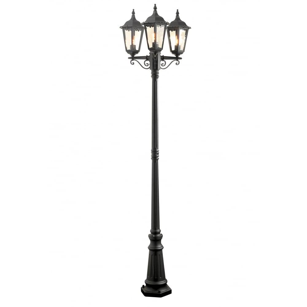 Konstsmide Firenze Black Driveway 3 Lantern Outdoor Pole Light