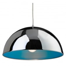 Bistro Pendant Ceiling Light in Polished Chrome and Green Interior