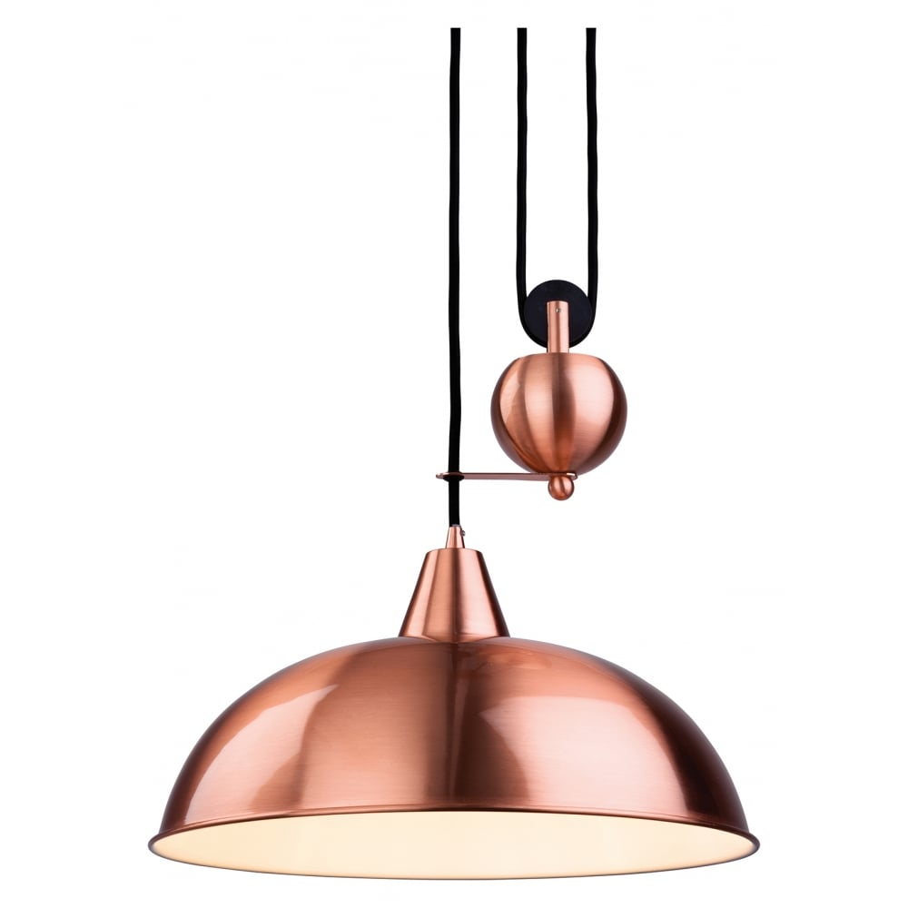 Century red copper rise fall pendant light