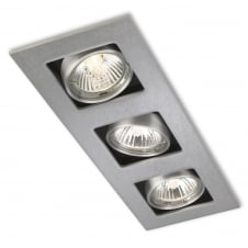 Cube Brushed Steel 3 Light Ceiling Downlight