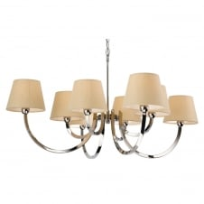 Fairmont Polished Chrome Ceiling 8 Light with Lampshades