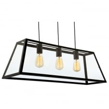Kew Black with Clear Glass 3 Light Ceiling Pendant