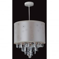 Non-Electric Pendant in Chrome with Cream and Crystal Shade