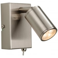 Orion Brushed Steel LED Wall Light with Switch
