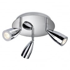 Storm Chrome LED 3 Light Flush Ceiling Spotlight