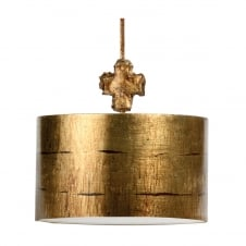 Fragment Gothic Gold Island Drum Shade Pendant Light