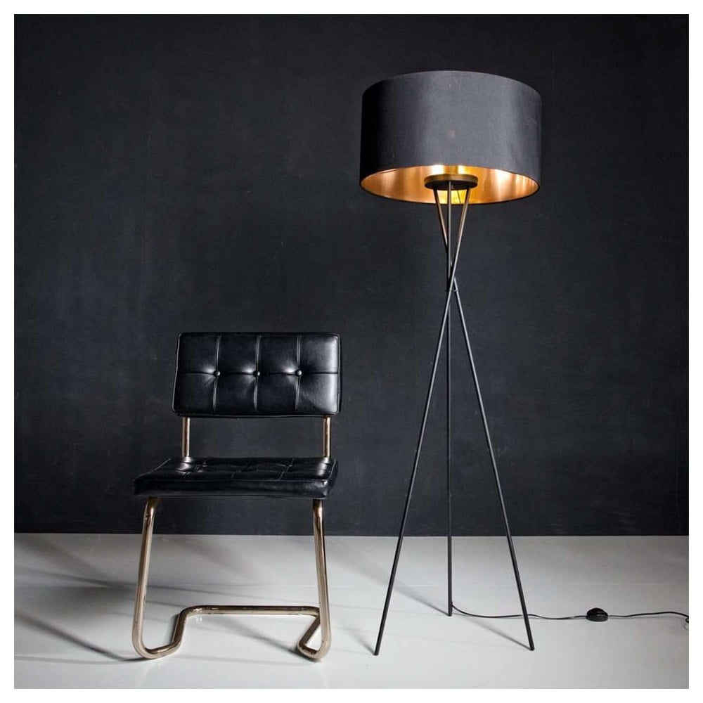 Eglo Sku24605 Matt Black Tripod Floor Lamp With Black Shade Ideas4lighting