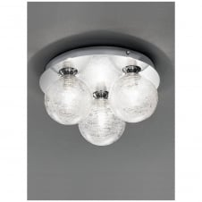 250mm Chrome Bathroom 3 Light Circular Ceiling Flush IP44